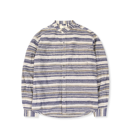 CREEP Stand Collar Flannel Shirt, Navy Stripe