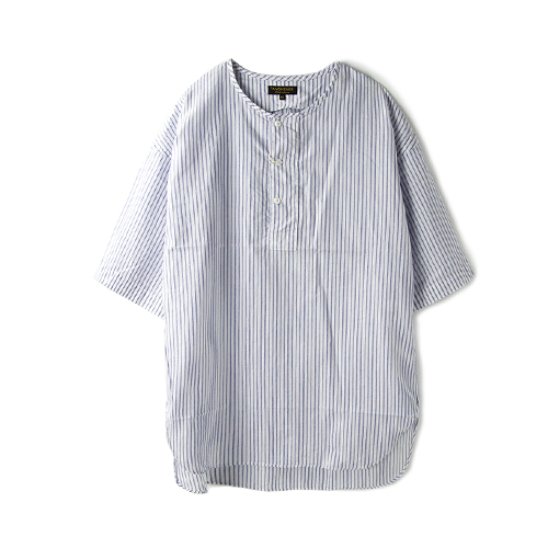 A VONTADE Henly Shirt S/S, White Stripe