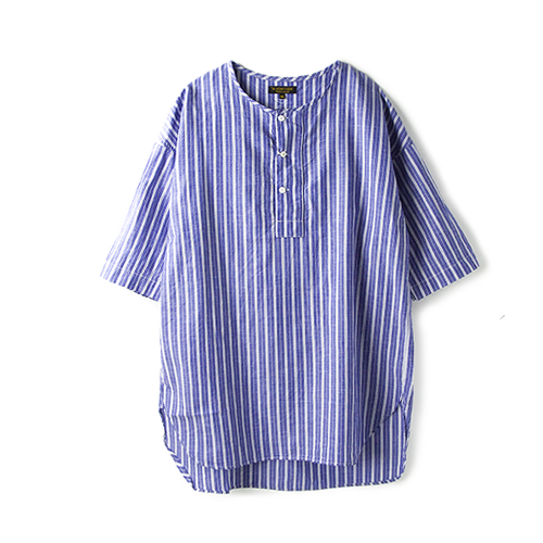 A VONTADE Henly Shirt S/S, Navy Stripe