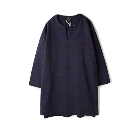 A VONTADE 3/4 Sleeve Basque Tunic, Navy/Brown Border