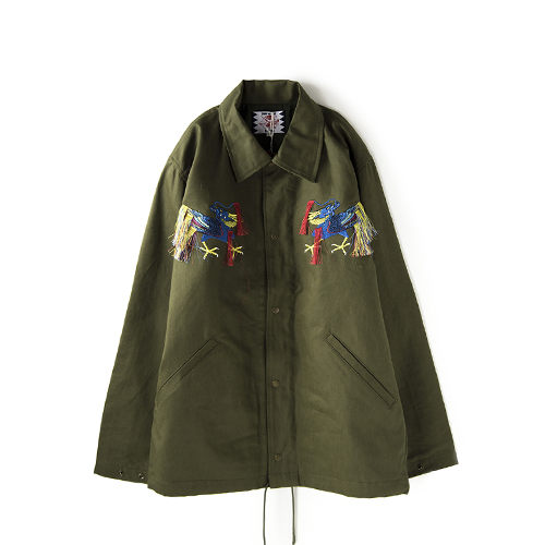 SON OF THE CHEESE Paraffin Dragon Jacket, Olive
