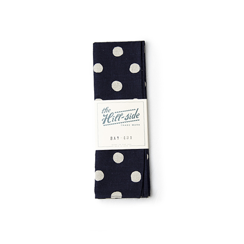 THE HILL SIDE Bandana ,Cotton / Linen Big Dot Print, Navy