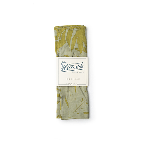 THE HILL SIDE Bandana ,Ultralight Palm Leaves Print, Tan / Mustard