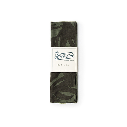 THE HILL SIDE Bandana ,Ultralight Palm Leaves Print, Olive / Brown